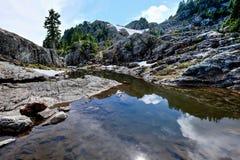 Alpine lake and reflection. Royalty Free Stock Photos