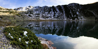 Alpine lake reflection - Retezat Mountains Stock Photo