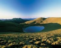 alpine lake scene in summer stock photos