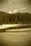 Alpine lake, sepia toned Stock Photography