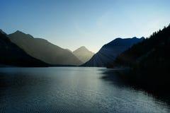 Alpine lake at sunset, Austria Royalty Free Stock Photos