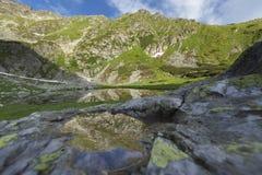 Alpine Lake Under Pietrosul Mountain In Romania Stock Image