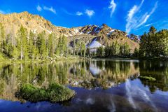 Alpine lake in the White Cloud Wilderness near Sun Valley, Idaho. Reflection of the White Cloud Mountains in a remote alpine lake near Sun Valley, Idaho stock image