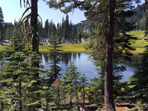 Alpine Lake and wide meadow Royalty Free Stock Image