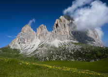 Alpine landscape. European alps, Italian Dolomites Panorama during a bright blue summer day Royalty Free Stock Image
