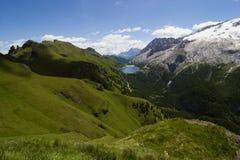 Alpine landscape. European alps, Italian Dolomites Panorama, Mt Marmolada during a bright blue summer day Stock Photography