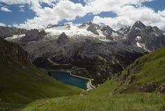Alpine landscape. European alps, Italian Dolomites Panorama, Mt Marmolada during a bright blue summer day Stock Photo