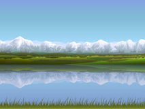 Alpine landscape. Alpine panorama reflecting in clear water (other landscapes are in my gallery Royalty Free Stock Images