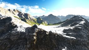 Alpine landscape in the Alps 3d rendering Stock Image