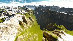 Alpine landscape in the Alps 3d rendering Royalty Free Stock Photos