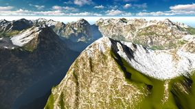 Alpine landscape in the Alps 3d rendering. Alpine landscape in the Pennine Alps Royalty Free Stock Images