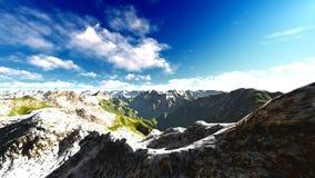 Alpine landscape in the Alps 3d rendering. Alpine landscape in the Pennine Alps Stock Photo