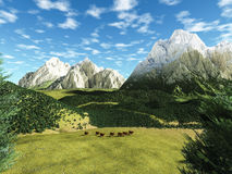 Alpine landscape  with caws. And trees Stock Photo