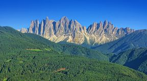 Alpine landscape of Dolomites mountain peaks stock image