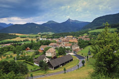 Alpine landscape: french village in the mountains Stock Photography