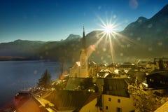 Alpine landscape of Hallstatt village Royalty Free Stock Photography