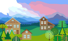 Alpine landscape with log homes. royalty free illustration