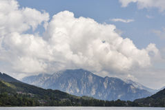Alpine landscape with mountain, valley, village and lake Mondsee, Austria Stock Images