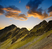 Alpine landscape near Davos at sunset. Royalty Free Stock Photography