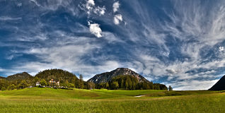 Alpine landscape. Panorama. Small village in the Austrian Alps Royalty Free Stock Photography