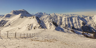 Alpine landscape panorama in winter Royalty Free Stock Photos