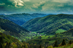 Alpine landscape with pine forests Royalty Free Stock Photos