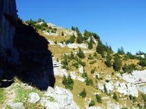 Alpine landscape and rocky peaks of Alpstein mountain range. Canton of Appenzell Innerrhoden AI, Switzerland royalty free stock photos