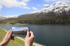 alpine landscape at Saint Moritz in Switzerland royalty free stock image