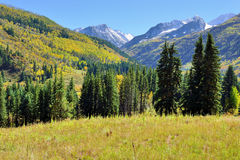 Alpine landscape with snow covered mountains in Colorado during foliage Stock Image