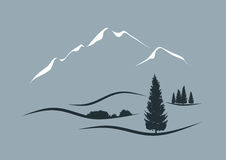 Alpine landscape. Stylized vector illustration of an alpine landscape Stock Photo