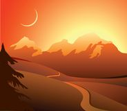 Alpine landscape at sunset time Royalty Free Stock Image