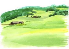Alpine landscape. Watercolor illustration. Alpine landscape. Watercolor hand drawn illustration Stock Photo