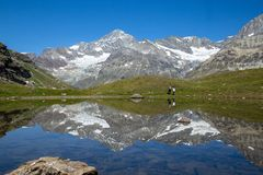 Alpine landscape at Zermatt hiking trail near Schwarzsee, Switzerland stock photography