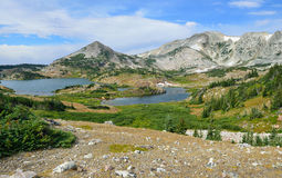 Alpine Landschaft in den Medizin-Bogen-Bergen von Wyoming Stockfotos
