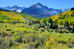Alpine Landschaft der gelben Espe und des Schnees bedeckte Berge während der Laubjahreszeit Stockfotografie
