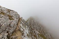 Alpine Landschaft im Sommer, in den Transsilvanische Alpen, mit Wolkenmeer Lizenzfreies Stockfoto