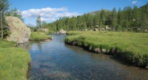 Alpine Landschaft mit dem Flussfließen Stockbild