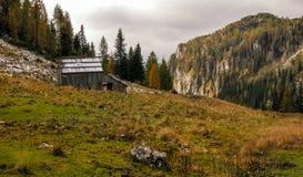 Alpine Landschaft mit Stall. Stockbild