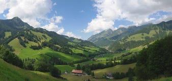 Alpine landwirtschaftliche panoramische Landschaft des Sommers Lizenzfreies Stockbild