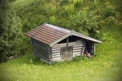 Alpine log cabin stock photos