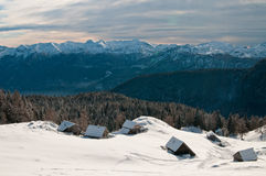 Alpine meadow. In winter time royalty free stock image