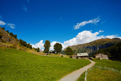 Alpine meadow with houses Stock Photos