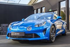 Alpine A110 - The Most Beautiful Car of 2017. PARIS, FRANCE - FEBRUARY 04, 2018: Alpine A110, the most beautiful car of 2017 is shown at the Concept Cars Royalty Free Stock Photos