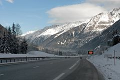 Alpine Motorway. The main motorway between Geneva in Switzerland and Chamonix in France royalty free stock image