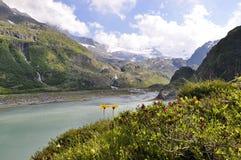 Alpine mountain glacier lake in the mountain of Switzerland Stock Image