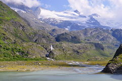 Alpine mountain glacier lake in the mountain of Switzerland Stock Image