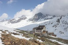 Alpine mountain hut Stock Images