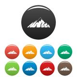 Alpine mountain icons set color vector. Alpine mountain icon. Simple illustration of alpine mountain vector icons set color isolated on white Stock Photo