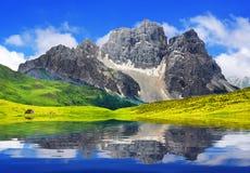 Alpine mountain lake stock images