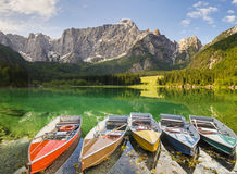 Alpine mountain lake in the Julian Alps Stock Photos